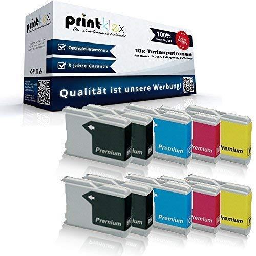 10x Kompatible Tintenpatronen für Brother DCP135C DCP150C DCP153C DCP157C MFC235C MFC260C DCP 135C 150C 153C 157C MFC 235C 260C LC-970BK LC-970C LC-970M LC-97-4X Black, 2X Cyan, 2X Magenta, 2X Yellow