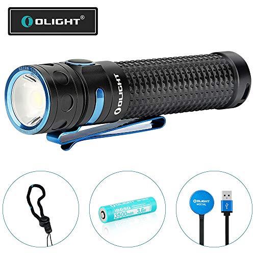 OLIGHT Baton Pro LED Taschenlampe 2000 Lumen, 132 Meter Reichweite, 9 Tage Laufzeit, USB Aufladbare Taschenlampen, 3500mAh Batterien, ideal für Hundespaziergänge, Wandern, Camping, Heimgebrauch usw