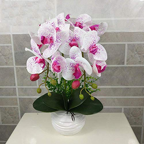 GHJA Phalaenopsis Artificial Flower Simulation Butterfly Orchid Bonsai Wedding Party Home Centerpiece Decor-White purple