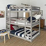 Walker Edison Alexander Classic Solid Wood Jr Twin over Twin Triple Bunk Bed, Twin over Twin, Grey