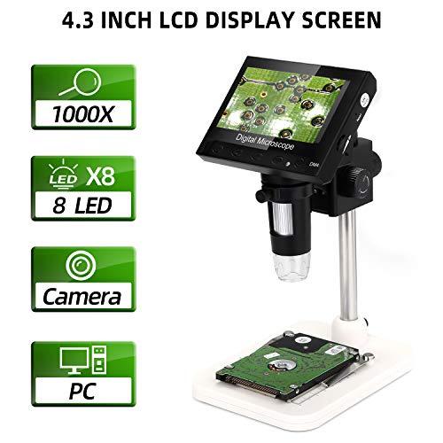 LCD Digital Mikroskop, WADEO 4,3 Zoll 720P HD 1000X Vergrößerung Zoom Nachladbare Batterie Endoskop mit 8 LEDs für die Reparatur, Wiederaufladbarer Akku, Mikroskop Kinder Kompatibel mit Mac, PC