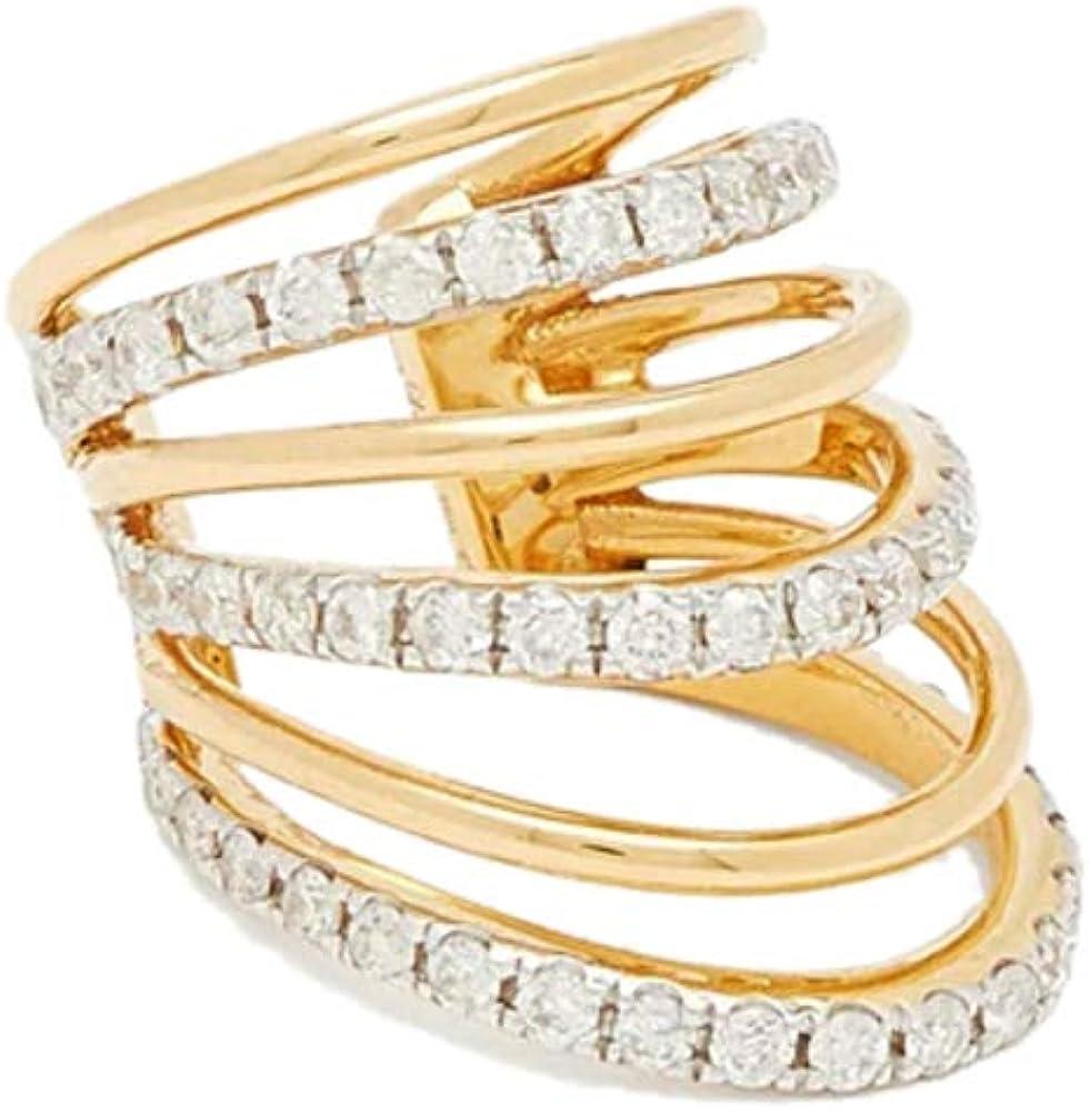 ailov Dainty Gold Ear Cuff for Women No Piercing Cubic Zirconia 6 Rows Cartilage Earrings Conch Earcuff
