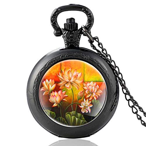 ZDANG Klassische buddhistische heilige Blume Design schwarz Vintage Quarz Taschenuhr Männer Frauen einzigartige Anhänger Stunden Uhr GeschenkeEIN gutes Geschenk