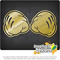 握った拳 - 戦い - ミッキーマウス Clenched fists - fight - micky mouse 20cm x 10cm 15色 - ネオン+クロム! ステッカービニールオートバイ