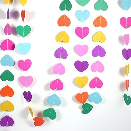 4 M de longitud en forma de corazón de papel guirnalda, colgando guirnaldas de papel cadena colorida artesanía boda decoración del partido caliente(Siete colores)