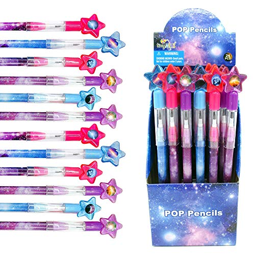 Tiny Mills 24 Pcs Galaxy Outer Space Multi Point Stackable Push Pencil Assortment with Eraser for Outer Space Galaxy Birthday Party Favor Prize Carnival Goodie Bag Stuffers Classroom Rewards