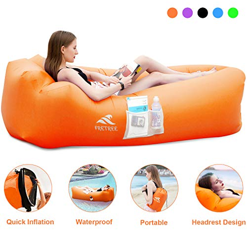FRETREE Inflatable Lounger Air Sofa Hammock - Portable Anti-Air Leaking & Waterproof Pouch Couch and Beach Chair Camping Accessories for Parties, Travel, Camping, Picnics, Pool, Large, Orange
