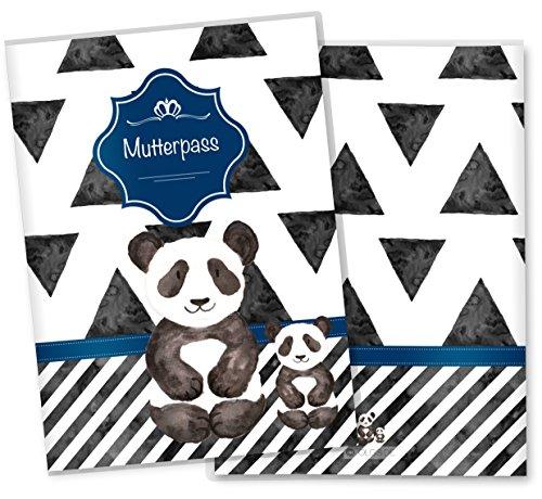 Mutterpasshülle 3-teilig Creative Royal Schutzhülle schöne Schwangerschaft Geschenkidee (Mutterpass ohne Personalisierung, Panda)