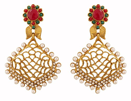 Touchstone Orecchini di gioielli di design bianco rosso lavorato a maglia di bollywood indiano per donna Multicolore