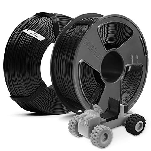 3D Printer PLA Filament 1.75,SUNLU Black PLA 1.75mm of MasterSpool,Fit FDM 3D Printer,1KG Spool,Pack of 2, Dimensional Accuracy +/- 0.02 mm,PLA Black+Black