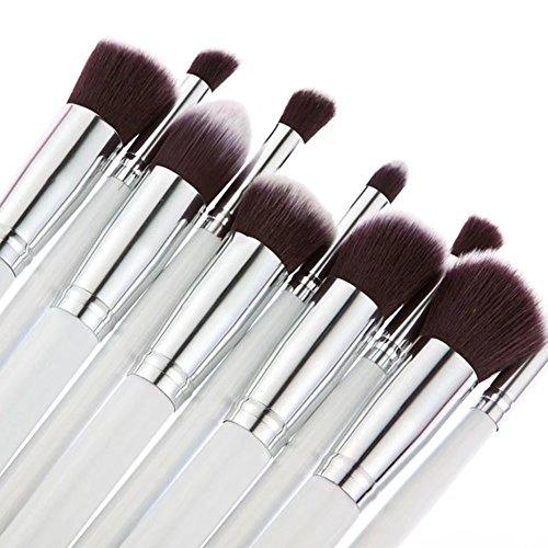 Waymeduo Kit De Pinceau Maquillage Professionnel 10PCS Noir Eyebrow Shadow Blush Fond De Teint Anti-Cerne