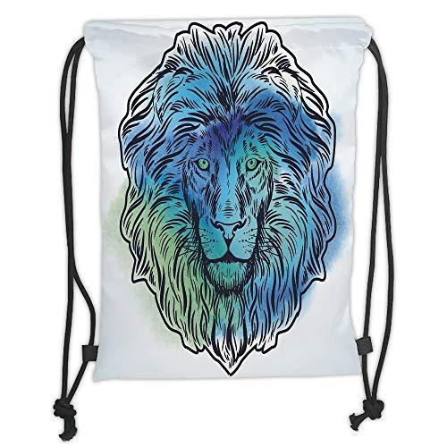 Fevthmii Drawstring Backpacks Bags,Lion,Artistic Lion Portrait with Digital Hazy Effect King of Forest Illustration Decorative,Light Blue Turquoise Soft Satin,5 Liter Capacity,Adjustable St