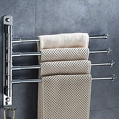 SWNN Estantes de baño Toallero Barra Contemporánea Acero Inoxidable/Hierro 1pc 4 Toallero Barra Colgando de Pared Moderno Montado en Pared Toallero