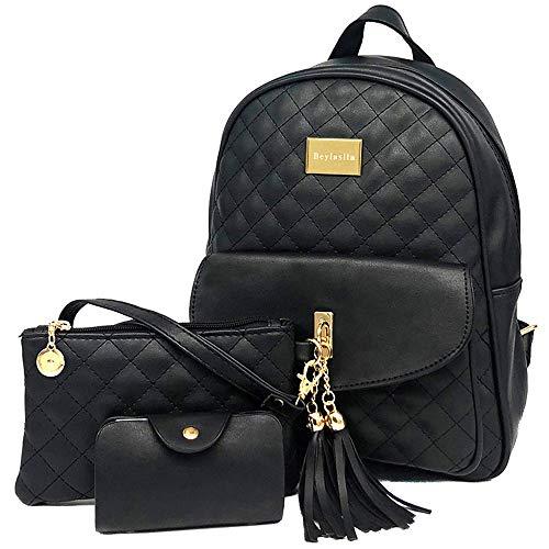 Beylasita Borsa da donna Set zaino 3 in 1 Daypack in pelle PU con portafoglio nero