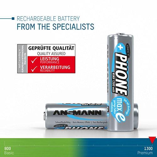 Panasonic KX-TG6521GB Schnurlostelefon mit Anrufbeantworter & ANSMANN Akku AA Mignon 1300 mAh 1,2V NiMH für Schnurlostelefon 2 Stück - Wiederaufladbare Batterien mit geringer Selbstentladung maxE