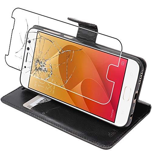 ebestStar - kompatibel mit Asus Zenfone 4 Selfie Pro Hülle ZD552KL Wallet Hülle Handyhülle [PU Leder], Kartenfächern Standfunktion, Schwarz +Panzerglas Schutzfolie [Phone: 154x74.8x6.9mm 5.5