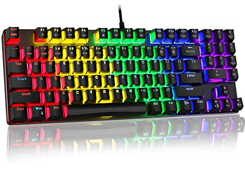 Sweet Alice Mechanical Gaming Keyboard, Compact 89 Keys RGB Backlit Floating Mechanical Keyboard with Multimedia Keys and with Number Keys,Spill-Resistant for Windows PC Gamer-Black