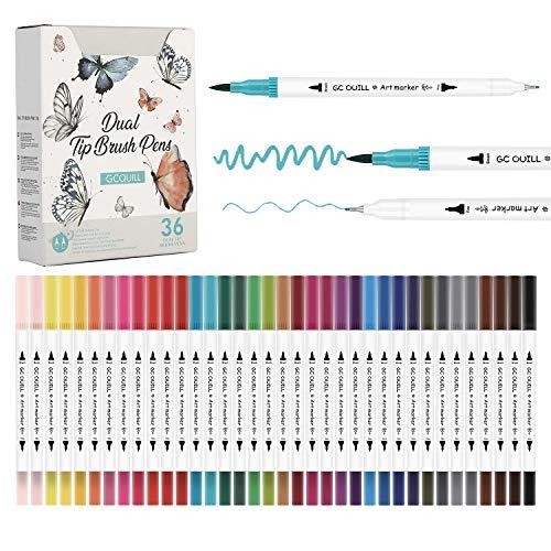GC GC-36W - Juego de rotuladores de acuarela con punta de pincel y punta fina - Colorear, Dibujo y Letras - Para niños y adultos Diarios y caligrafía