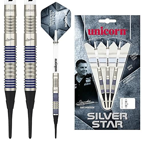 Unicorn Silver Star Gary Anderson Soft Dart, 80% Tungsten, 20g