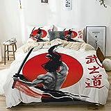 KASMILN Bedding Juego de Funda de Edredón,Samurai en la práctica con los músculos Katana Disciplina asiática del Sol japonés,Microfibra Funda de Nórdico y Fundas de Almohada (Cama 220x240cm)