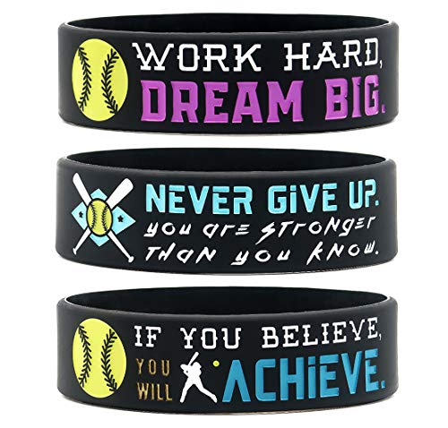(6-Pack) Motivational Softball Wristbands with Sports Quotes - Softball Gifts Jewelry Accessories for Softball Players Team Awards Party Favors - Unisex for Men Women Youth Teen Girls Boys