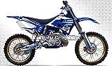 Kungfu Graphics Custom Decal Kit for Yamaha YZ125 YZ250 YZ 125 YZ 250 1996 1997 1998 1999 2000 2001, Blue White