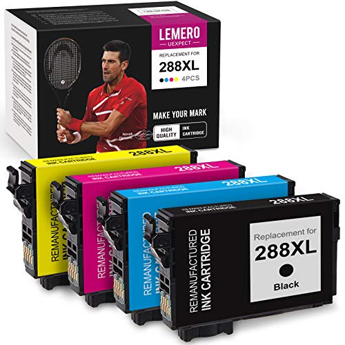 LemeroUexpect Remanufactured Ink Cartridge Replacement for Epson 288 XL 288XL T288XL for Expression Home XP-440 XP-446 XP-430 XP-340 XP-330 Printer (1 Black, 1 Cyan, 1 Magenta, 1 Yellow, 4-Pack)