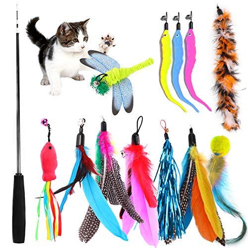 TOPSEAS Katzenspielzeug Feder,13 Stück Katzenspielzeug Katze Toys,Federspielzeug Katze,Einziehbare Katze Teaser Zauberstab Spielzeug Set