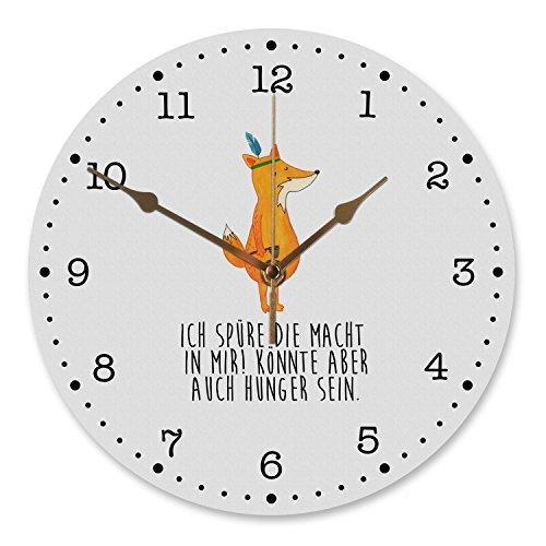 Mr. & Mrs. Panda Uhr, Küchenuhr, 30 cm Wanduhr Fuchs Indianer mit Spruch - Farbe Weiß