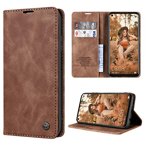 RuiPower Handyhülle für Huawei P40 Lite Hülle Premium Leder PU Flip Hülle Wallet Lederhülle Klapphülle Magnetisch Silikon Bumper Schutzhülle für Huawei P40 Lite Tasche - Braun