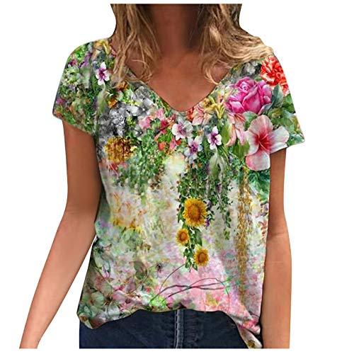 YANFANG Camiseta Manga Corta Mujer,Blusa de Camiseta con Cuello en V Estampada de Manga Corta de Talla Grande para Mujer Camisetas, Tops y Blusas