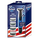 Barbasol Rechargeable Electric Wet and Dry Single Blade Shaver with Stainless Steel Blades and 4 Guide Combs