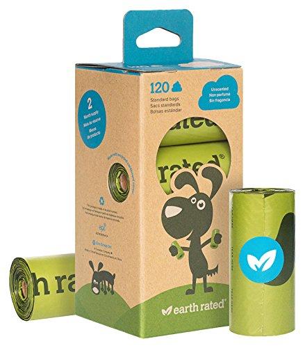 120count Tierra ratedâ ®, sin perfume, bolsas de basura de perro 8rollos de recambio