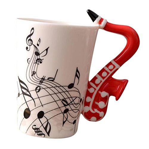 joyMerit Kaffeetasse Keramik Kaffee Milch Tee Tasse Geschenke Mit Instrument Design Griff - Rotes Saxophon