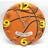 12-inch Creative Wall Clock Basketball Football Shape Living Room Bedroom Decoration Background Wall Timetable,Orange