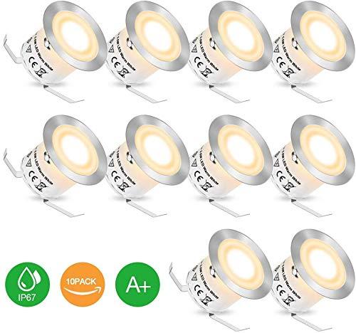 Faretti LED Incasso - Faretti LED da Incasso per Cartongesso, Lampada da Soffitto Set di 10 con Basso Consumo, Faretti Esterno Interno Impermeabile IP67, LED Luce Staccabili Bianca Calda, per Natale