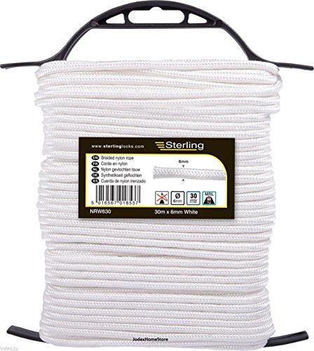 Sterling NRW630 Cuerda de nailon trenzado blanco ley, 6 mm x 30 m