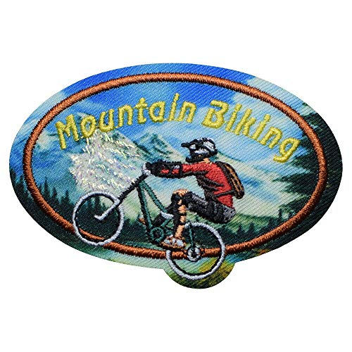 Spk Mountain Biking Riding Trails, Downhill, MTB Badge 2-5/8' Embroidery Applique Iron On Patch, Sew on Patches Badge DIY Craft