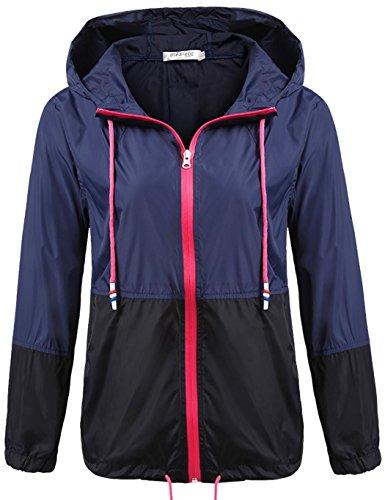 Unibelle Damen Regenjacke Leichte Kurze Jacke Windbreaker Jacke Regenmantel Übergangsjacke mit Kapuze Winddicht Navyblau XXL