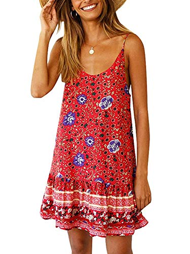 Womens Casual Boho Floral Swing Short Shift Beach Midi Dress Spagehetti Strap Sundress Bikini Cover Up Red
