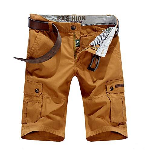 lxylllzs Outdoor Bermudas Casual Combat Pantalon,Short Multi-Poches pour Homme, Pantalon décontracté à Cinq Points-Orange_30,Shorts Cargo pour Multi-Poches,