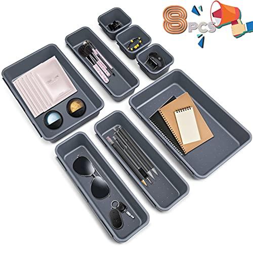 Organizador de Cajón Plástico,8 piezas Bandejas Organizadora de Cajones Escritorio Cajón Cajas Plásticas Orgaizador de cajonesn, para escritorio baño cocina (gris oscuro)