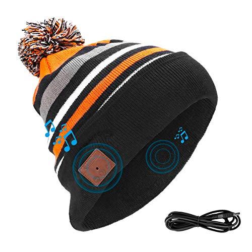 Powcan Bluetooth 5.0 Beanie Mütze Kopfhörer mit Lautsprecher, Frauen Männer Double Knitted Musik Hut Strickmütze Headset Mikrofon Freisprechfunktion für Outdoor Sport Eislauf Wandernder Kampierendes