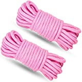2 Pack Cotton Soft Rope,EGQINR 32 Feet/10m Rope Craft Rope,Durable Utility Long Rope (2 Pack - Pink)