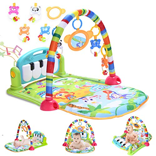 Baby Gym Baby Play Mat, Kick and Play Piano Gym with 5 Infant Learning Sensory Baby Toys, Musical Toys As Boy & Girl Gifts for Newborn Baby 0 to 3 6 9 12 Months, Intended for Baby Shower, Christmas