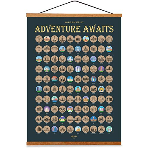 Top 100 Places Scratch Off Poster With Magnetic Hanger Frame Ready to hang - World Bucket List -...