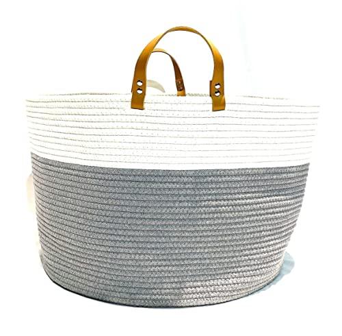 "Tunnelvisn 20"" by 13"" Laundry Hamper Baskets for Blankets Toy Storage Organizer Blanket Basket Rope Basket Clothes Hamper living room storage blanket holder baby hamper organizer baskets foldable laundry basket"