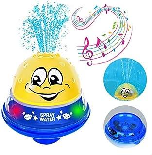 QINGBAO Bath Toys Bathroom Play Spray Bath Toy Children's Bath Toys Bath Spray Toys with Music & Lamp Electric Automatic Induction Water Spray Bath Toy (Yellow + Blue Base)