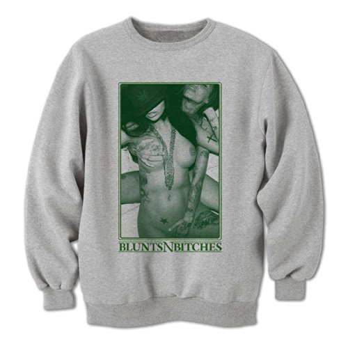 Bang Tidy Clothing Sweat-Shirt Homme Blunts N Bitches #1 Gris M