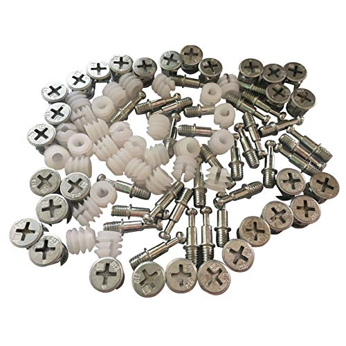 Antrader Furniture Side Knock Down Furniture Cam Lock Connecting Fitting Pre-inserted Nut Dowels connector Assembly 30 Sets (812 Fitting+25mm Fitting Screw+Open colloid)